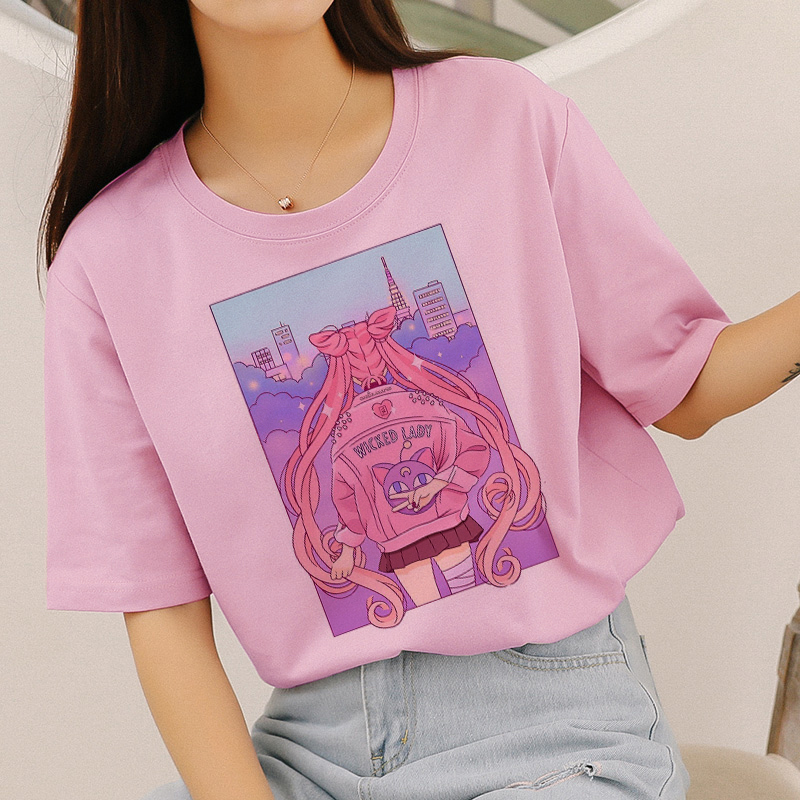 Sailor Moon Cute Cat Aesthetic Anime Print Pink Kawaii Japanese Style New Harajuku Vogue Casual Short Sleeve Top Women's T-Shirt