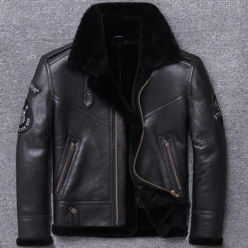 Real Fur Coat Men Winter Coats Clothes 2020 Streetwear Moto Biker Sheep Shearling Jacket Man Real Leather Coat Hiver U801