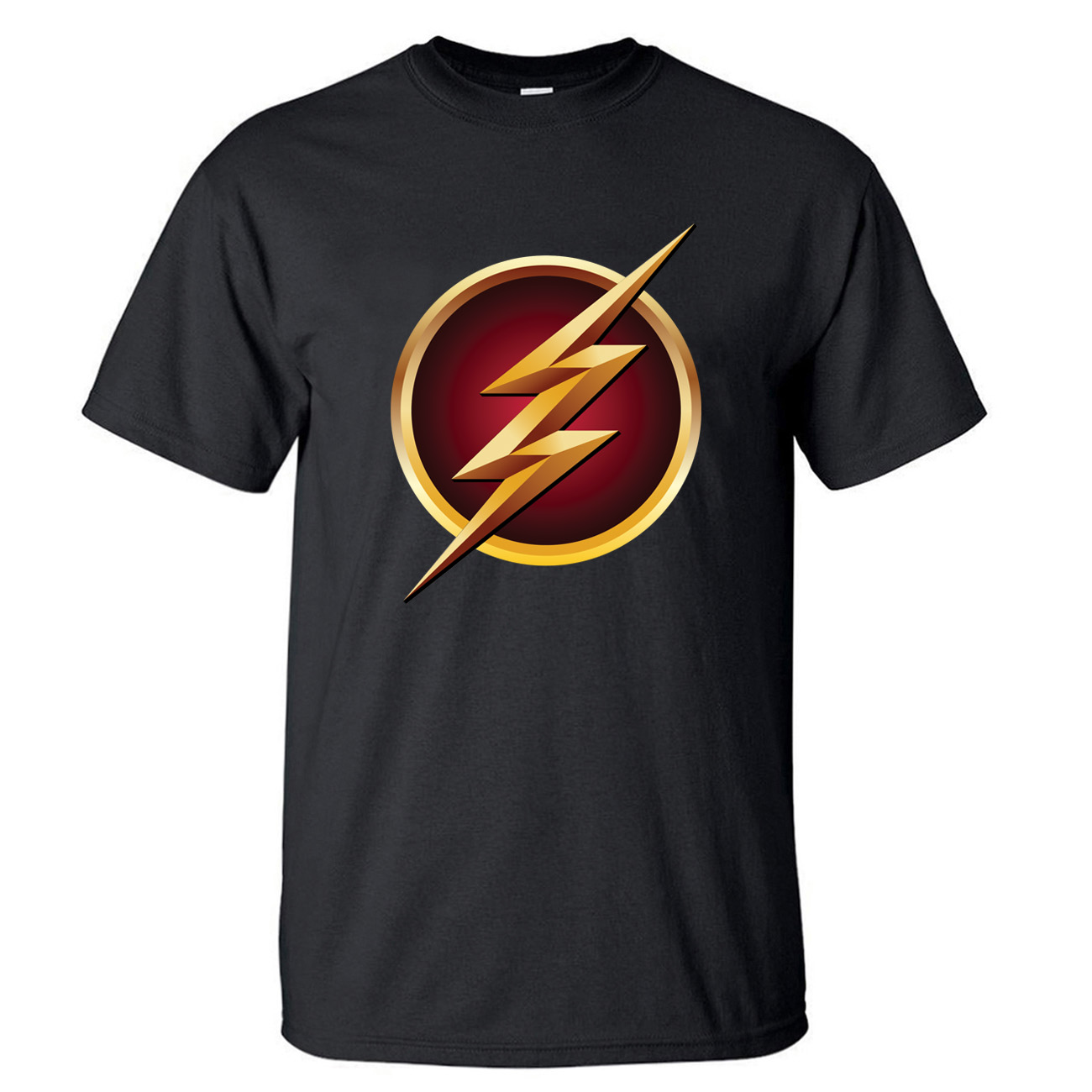The Flash Superhero Tshirt Men Barry Allen S.T.A.R T Shirt Summer Tops Cotton Short Sleeve T-Shirt Mens Super Hero Black Tshirts