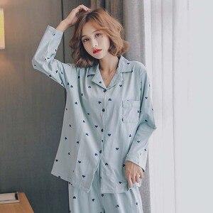 Image 3 - Meilleure vente dames automne nouveau confort pyjamas ensemble dessin animé doux coeur imprimé Simple vêtements de nuit de style col rabattu Homewear
