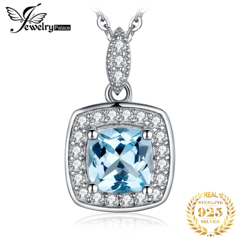 JewelryPalace Natural Blue Topaz Pendant Necklace 925 Sterling Silver Gemstones Choker Statement Necklace Women No Chain jpalace taiji natural black spinel pendant necklace 925 sterling silver gemstones choker statement necklace women no chain