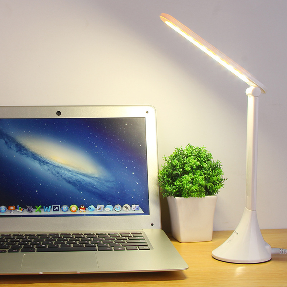 LED Adjustable Table Desk Light Touching 3 Level Dimmable USB Folding Lamp Eye Protection