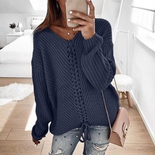 цена на Sweaters Women Sweater Pink Casual Computer Knitted Pullovers Criss-Cross Korean Plus Size Winter 2018 Girls