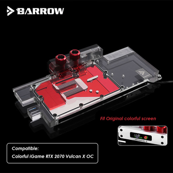 Barrow GPU Water block for colorful RTX2070 vulcan X OC ,video card cooler block ,support sync mainboard 5v light BS-COI2070-PA