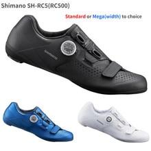 2021 nova shimano sh rc5 rc500 rp5 rp500 sapatos de estrada padrão ou mega (largura) vent carbono sapatos estrada bloqueio sapatos ciclismo