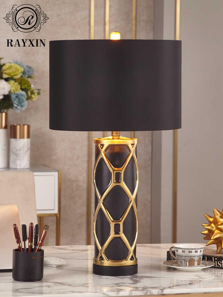 TUDA 럭셔리 포스트 모던 화이트 블랙 골드 세라믹 테이블 램프 침실 머리맡 램프 거실 침대 옆 램프 홈 데코