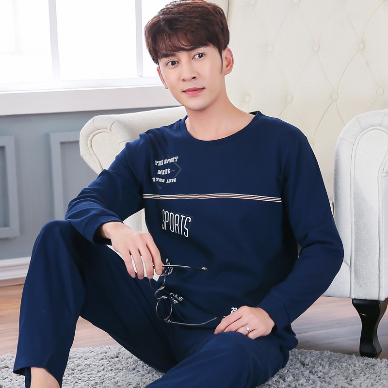Plus Size 5XL 100% Cotton Pajamas Sets For Men 2019 Spring Long Sleeve Pyjama Soft Comfortable Sleepwear Homewear Lounge Clothes