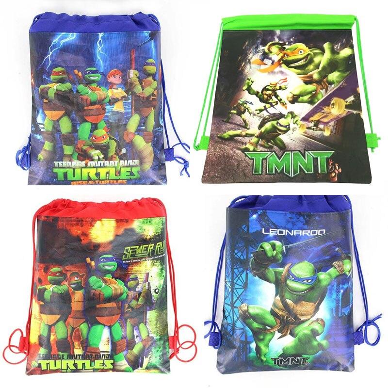 High Quality 34cmx27cm Drawstring Bag Ninja Turtle Child Travel School Bag Fabrics Backpack Women Shopping Non-woven Bag Supply