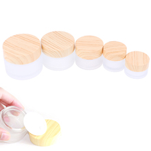 1PCS 5g 10g 15g 30g 50g Frost Glass Bottle Plastic Bamboo Lid Glass Jar Empty Bottle Cream Jar Cosmetic Packaging Container