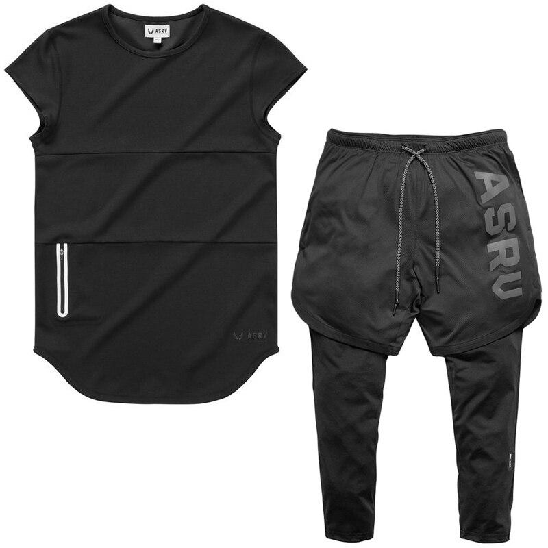 2019 Sporting Slim Fit Sets Mens FAKE 2 IN 1 Shorts Gyms Fashion Tracksuit Men's Sportwear Suit Short Tee + Pants Tracksuit Set