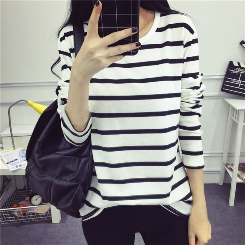 <font><b>Cotton</b></font> Fashion <font><b>Women</b></font> Stripped Long Sleeve O-neck Summer Casual <font><b>Women</b></font> T <font><b>shirt</b></font> Tops Black White Stripes Tee <font><b>Shirt</b></font> Female T-<font><b>shirts</b></font> image