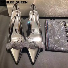 2019 Summer Brand Slingback Pumps Shoes Women Rhinestones Butterfly-knot Party Wedding Shoes Elegant High Heel 7cm Sandals mujer latest red color brilliant summer sandals pumps italian shoes rhinestones african shoes italian elegant wedding shoes yzg7 47
