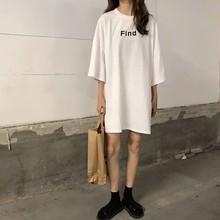 2019 Summer Womens Round Neck Casual Letter Print Pattern Three Quarter Sleeve Length Broadcloth Fabric Loose Female T-Shirt
