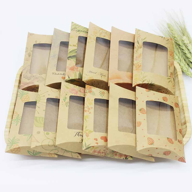 10Pcs 12.5x8x2cm DIY Thank You Gifts Pillow Box  Kraft Flower Pineapple Printed Box With Pvc Window Jewelry Crafts Display Box