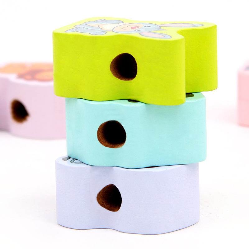 Wooden Bead Toy Early Childhood Educational Hand-Eye Coordination Large Size Animal Traffic With Numbers Threading Game CHILDREN