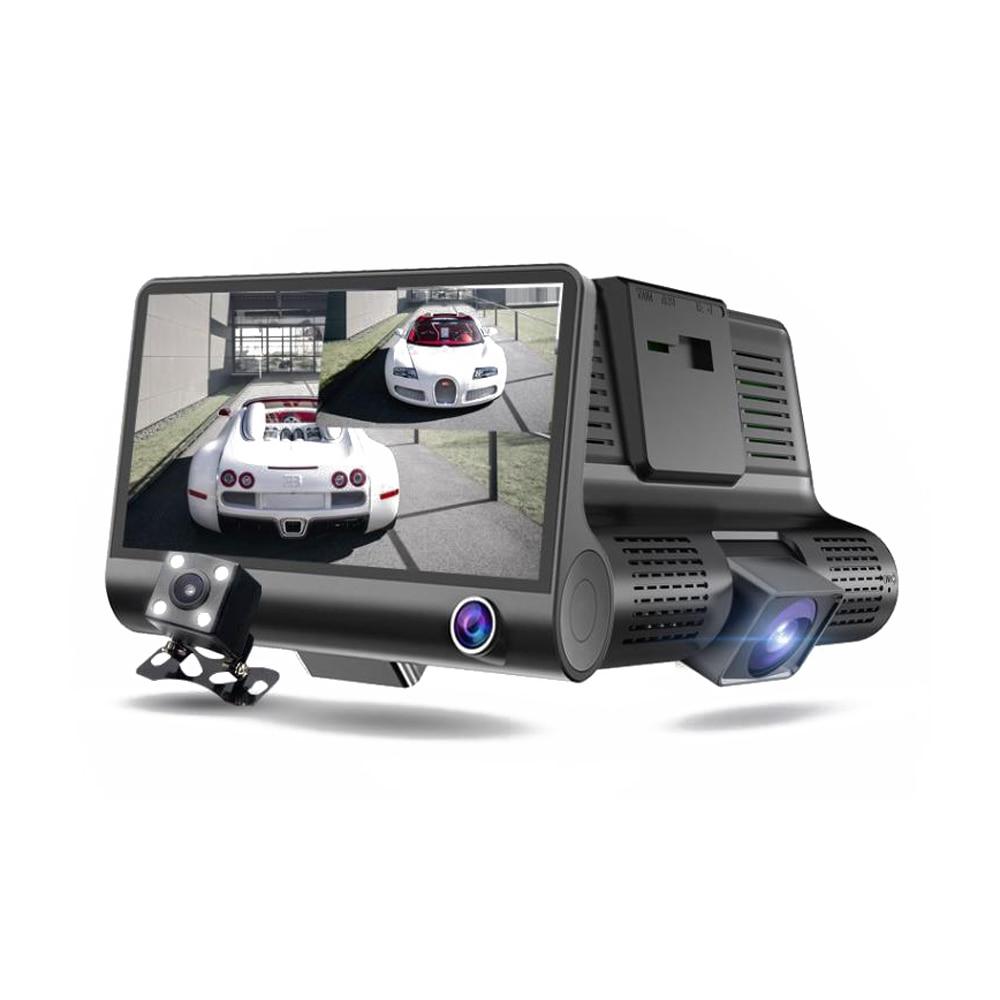 Câmera dupla completa do carro dvr da lente de hd 1080 p 4.0 polegada lcd com câmera retrovisor gravador de vídeo do registrador automático dvrs traço câmera