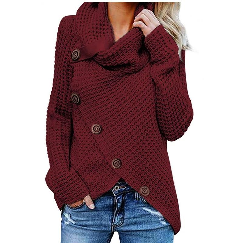 Women Knitted Sweater Turtleneck Winter Autumn Pullovers Button Casual Long Sleeve Jersey Top