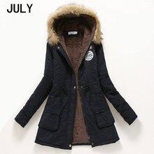 JULY Winter Jacket Women 2019 Thick Warm Hooded Parka Mujer Cotton Padded Coat Long Paragraph Plus Size 3xl Slim Jacket Female цены онлайн