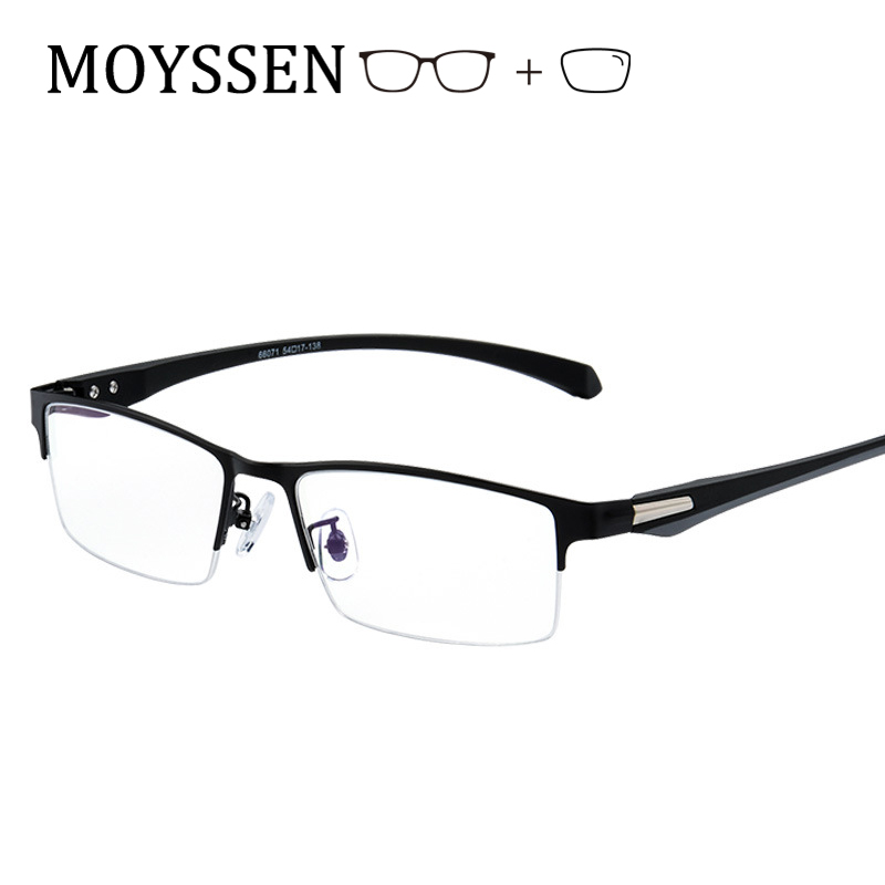 Męski styl biznesowy pół obręczy metalowe okulary rekreacyjne formalne okulary optyczne okulary dla osób z krótkowzrocznością ramki soczewki korekcyjne