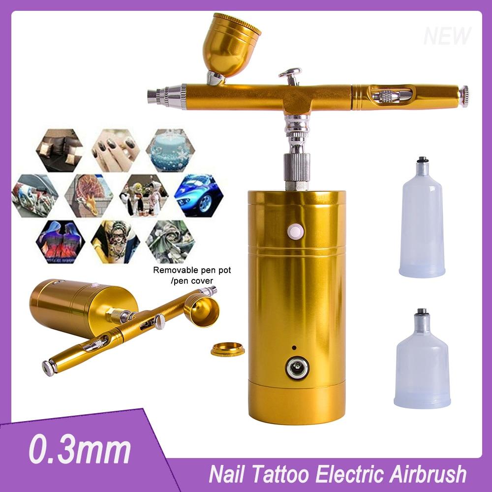 Rechargeable Paint Electric Airbrush 0.3mm Portable Handheld Compressor Kit Spray Nail Tattoo Beauty MINI Pen Spray Gun