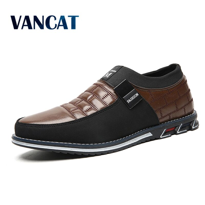 New Autumn Winter Plush Warmth Casual Shoes Fashion Leather Men Shoes Comfortable Slip On Flat Shoes Dress Shoes Big Size 39-48