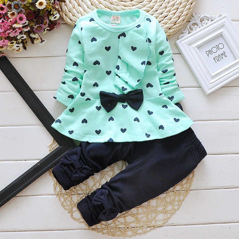 Kids clothes girls baby clothing set princess cotton casual shirt Long Sleeve T-Shirt + trousers children sets top pant clothes