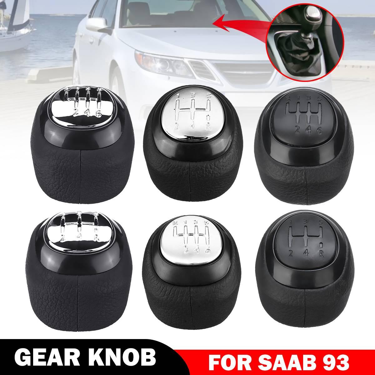 6 Speed PU Leather Gear Shift Knob For SAAB 9-3 93 2003-2012 #55566206