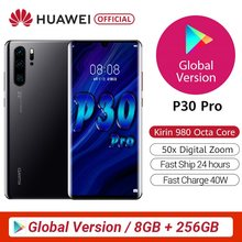 Versão global original huawei p30 pro 8gb 256gb telefone móvel 6.47
