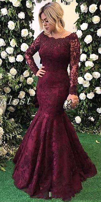 Vestido De Noiva 2018 Lace Appliques Beads Long Women Prom Party Evening Gowns Long Sleeve Burgundy Mother Of The Bride Dresses