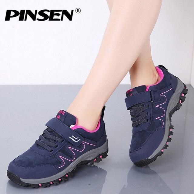 PINSEN 2020 yeni sonbahar kadın ayakkabı yüksek kaliteli açık yürüyüş rahat ayakkabılar kadın rahat dantel up daireler anne ayakkabısı