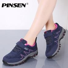 PINSEN 2020 새로운 가을 여성 신발 고품질 야외 하이킹 편안한 신발 여성 캐주얼 레이스 업 아파트 어머니 신발