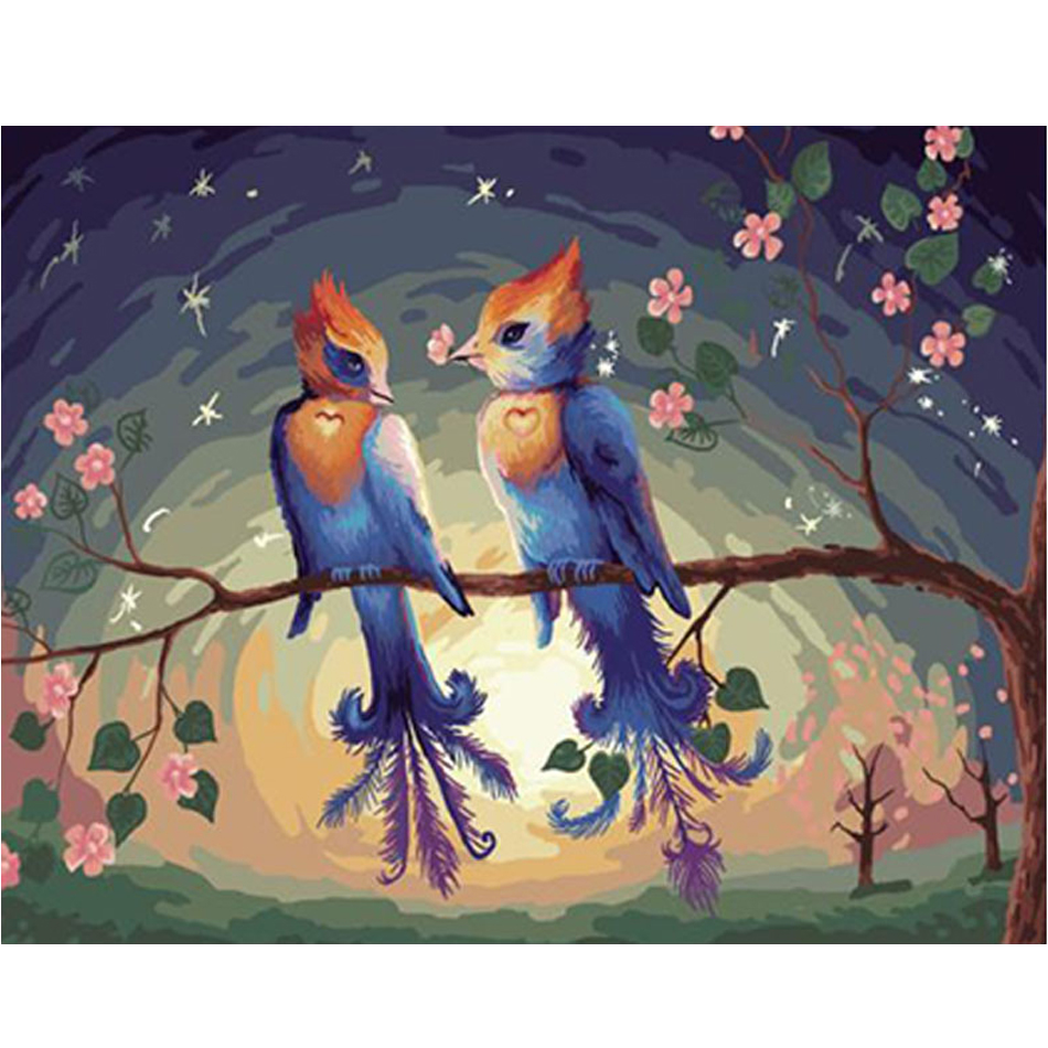WONZOM Couple Bird Flower Paint By Numbers Kit Home Decor Oil Canvas Painting With Frame Wall Art Picture Acrylic Paint 40X50CM in Painting Calligraphy from Home Garden