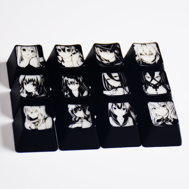 1 Set High-end Backlit Keycap For Comics And Animation Girls Tunxing Coating Key Cap For Mechanical Keyboard F Area