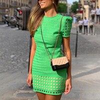 Solid Summer Dress Elegant Green Hollow Out Short Sleeve Mini Dress Women Bodycon Party Dresses vestidos de verano