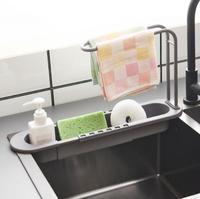 Fregadero telescópico de cocina, bandeja escurridor, cesta de almacenamiento, esponja de jabón, toallero ajustable para baño, herramienta de cocina