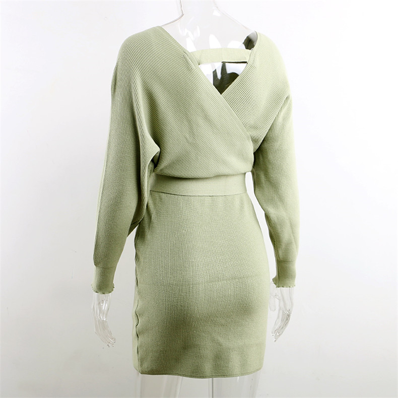 Long Sleeve Sashes Tied Knitted Wrap Sweater Dress 14