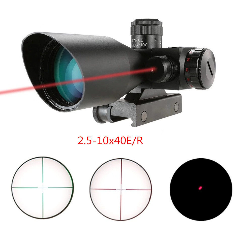 DA 2.5-10x40E Hunting Riflescope Red Green Illuminated Crosshair Reflex Sight Tactical Scopes Air Gun Electro Red Dot Sight