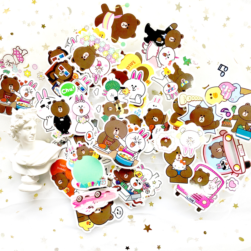 China 45Pcs/Lot Line Town Brown Bunny Cony Pvc Stickers For Laptop Notebook Skateboard Luggage Guitar Decal Toy Sticker