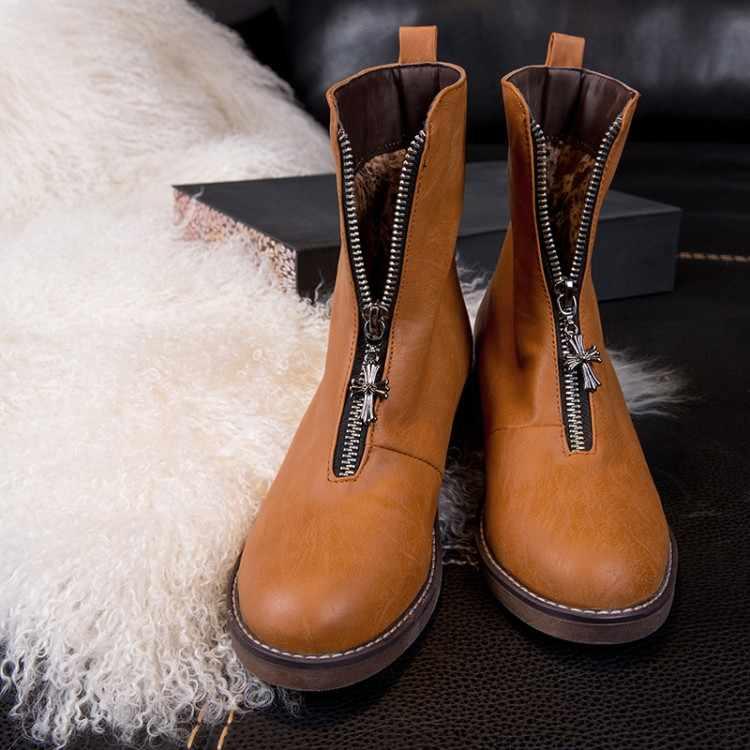 Große Größe 9 10 11 12 stiefel frauen schuhe stiefeletten für frauen damen stiefel schuhe frau winter Vorne zipper runde kopf flache ferse