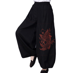 Embroidery Cotton and Hemp Lantern Pants with Loose Waist and Long Pants for Women and Large Size Leisure Broad-legged Pants