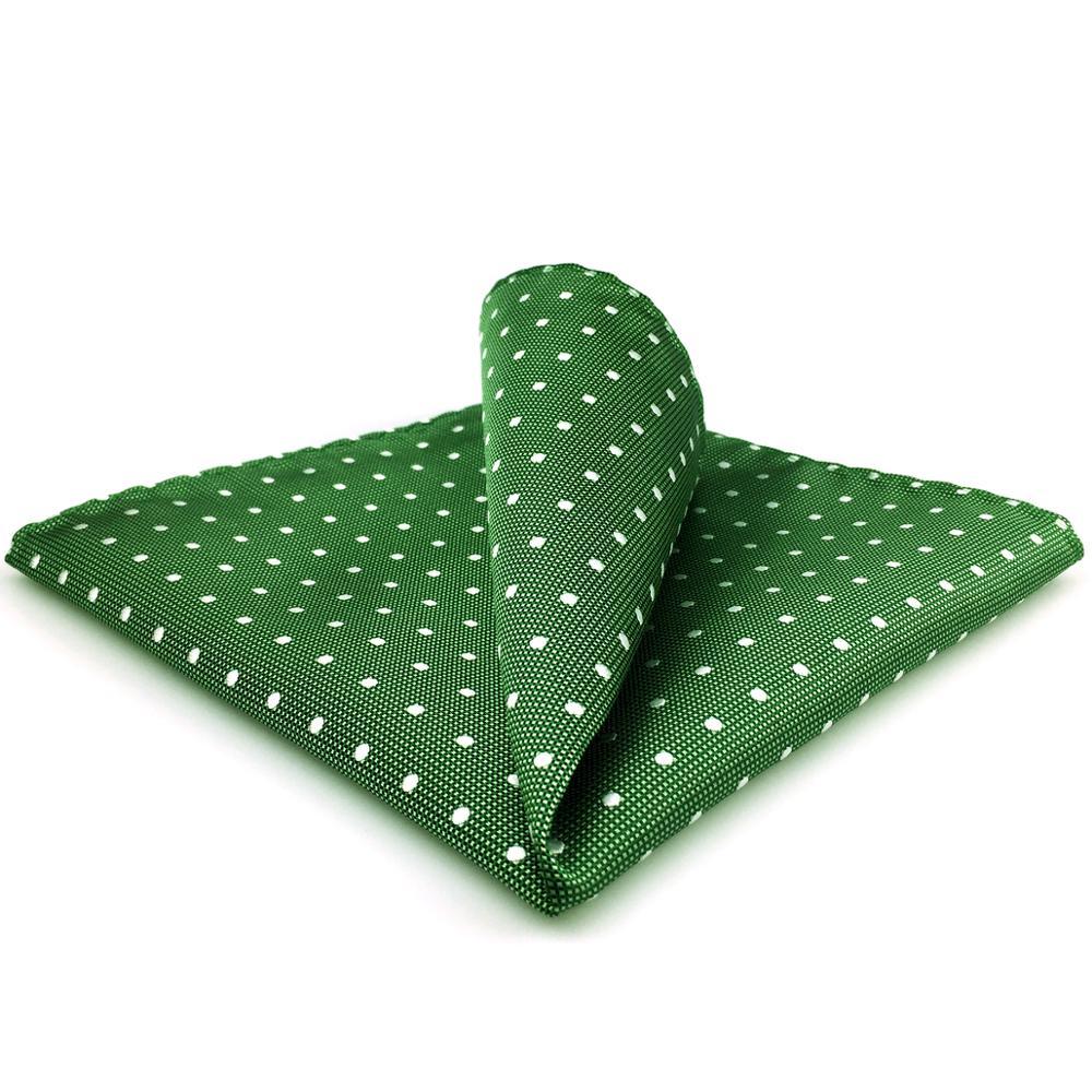 EH21 Green Dots Mens Pocket Square Handkerchief Hanky Large 12.6