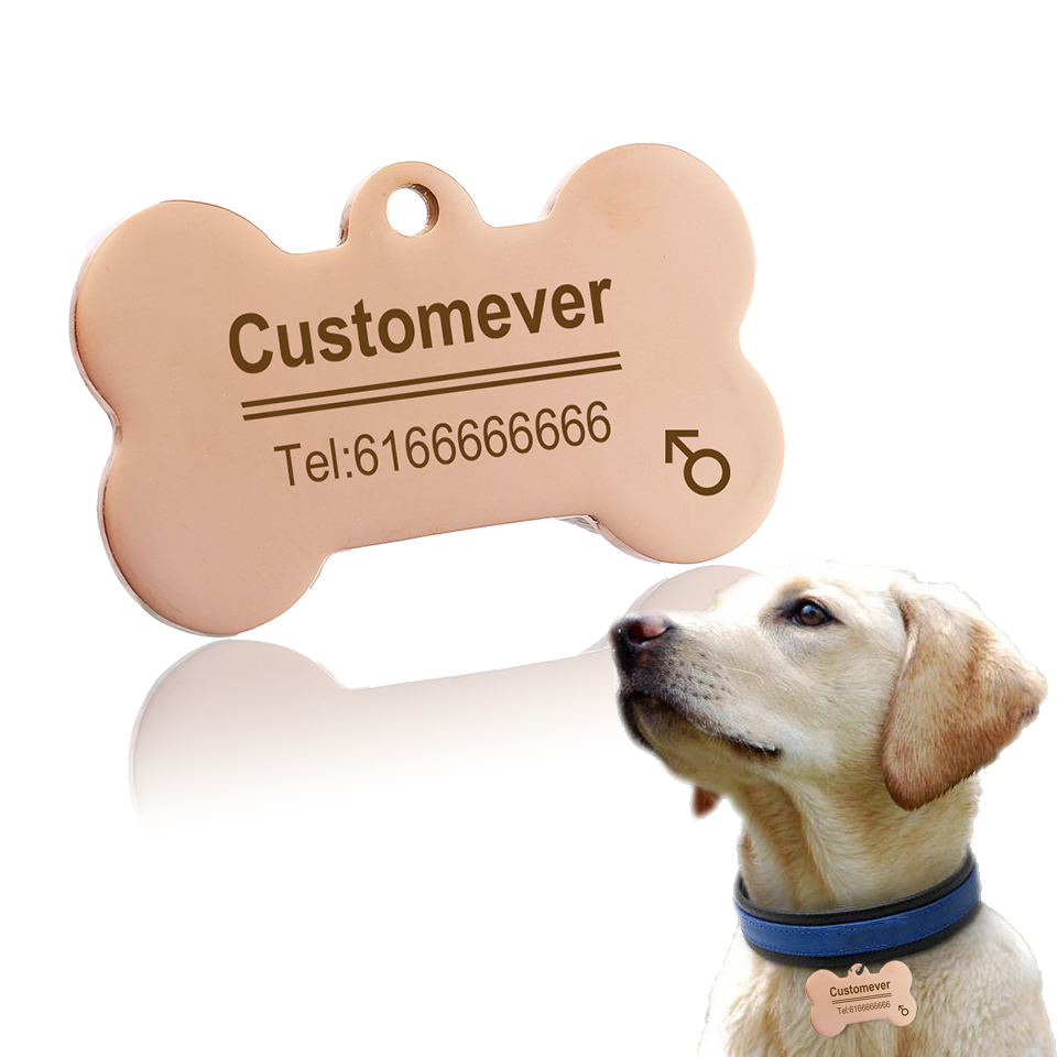 Custom Dog Tags in Rose Gold Silver or Black Engraved Stainless Steel Pet ID Cat Tag Name Dog Bone Personalized Dog Collar Tag 2