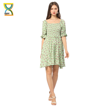 CGYY House Of Sunny Sexy Summer Ruched Dress Ladies Square Neck Floral Beach Sarongs Women Boho Ruffle Sleeve Knitted Vestido 1