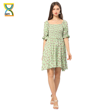 CGYY House Of Sunny Sexy Summer Ruched Dress Ladies Square Neck Floral Beach Sarongs Women Boho Ruffle Sleeve Knitted Vestido