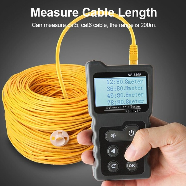 NF-8209 LCD Display Measure Length Lan Cable POE Wire Checker Cat5 Cat6 Lan Test Network Tool Scan Cable Wiremap Tester 2