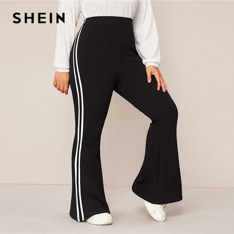 Shein Pantalones De Correr De Talla Grande Para Mujer Pantalon Largo Deportivo De Cintura Alta Raya Lateral Color Negro Pantalones Y Pantalones Capri Aliexpress