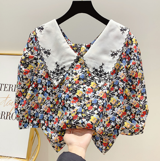 2020 Summer Shirt Women's All-match Doll Neck Blouses Korean-Style Short Sleeve Embroidered Blouse Lady's Tops Blusas Mujer