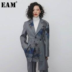 Женский Асимметричный Блейзер EAM, Серый свободный блейзер с отложным воротником и длинным рукавом, весна-осень 2020, 1N119