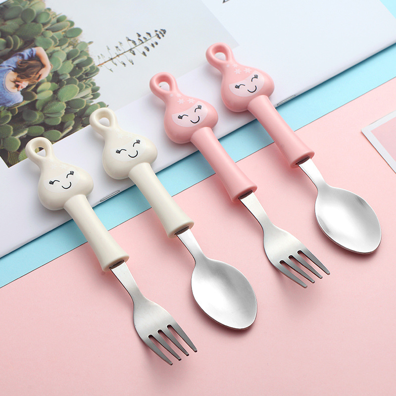 2pcs Baby Spoon Forks Kids Stainless Steel Kids Cutlery Portable  Children Tableware Set  Baby Feeding Utensils Baby Gadgets