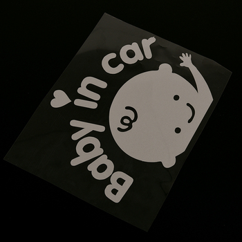 1PCS Baby In Car Waving Baby on Board Safety Sign Cute Car Decal Vinyl Sticker image